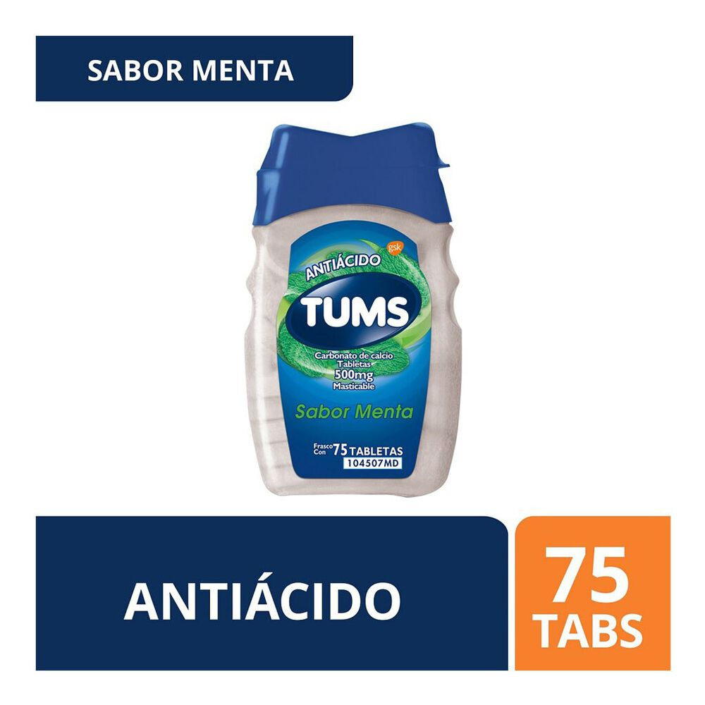 Tums Menta 500mg Tab con 75 image number 0