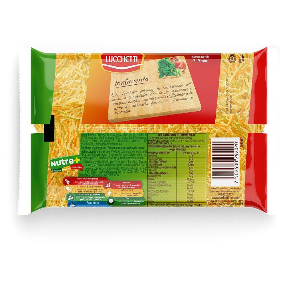 Pasta Fideo 2 Lucchetti Vegetales 200 Gr image number 1