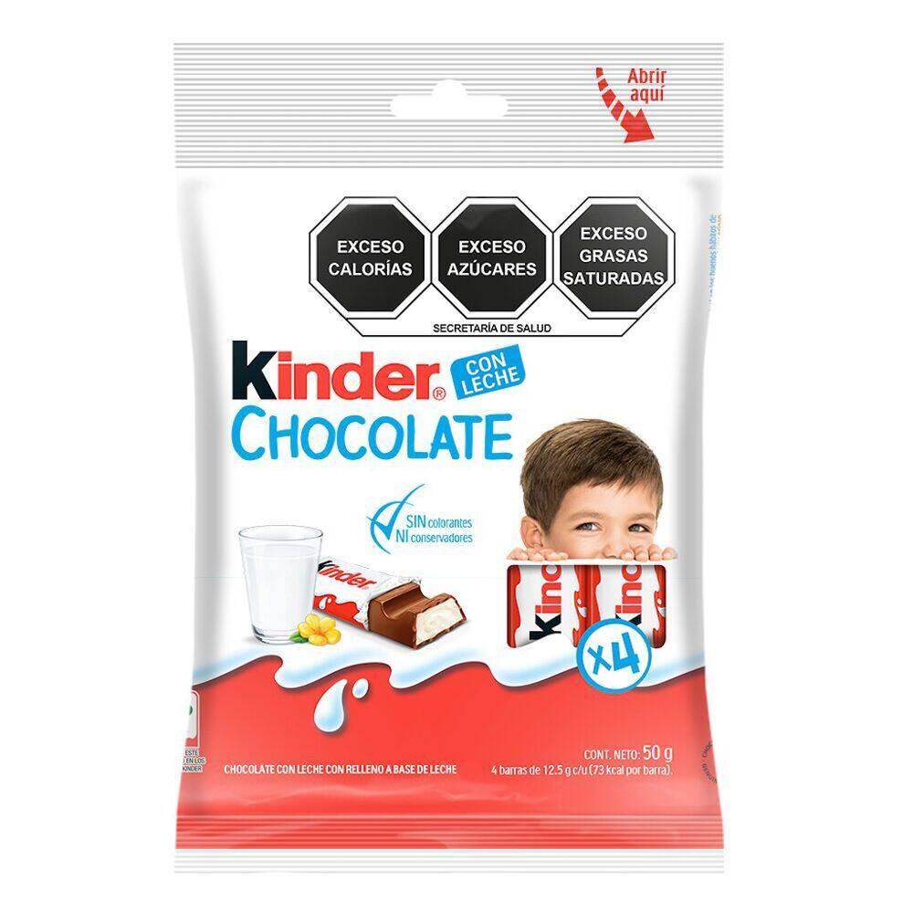 Chocolate Kinder 50 Gr Pack Con 4 Piezas image number 0