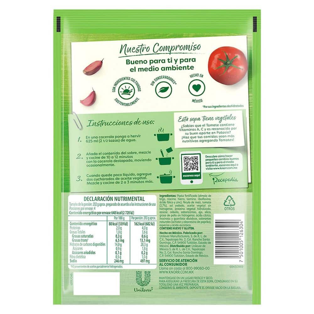 Fideos Secos Knorr Con Tomate 156 Gr image number 1